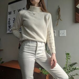 Land's End Cream Knit 100% Cotton Sweater